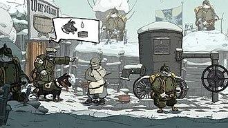 Скриншот из игры, на котором изображены несколько солдат и собака Уолт.