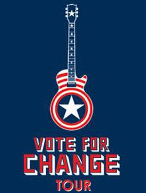 Vote for Change - The tour poster, which shared characteristics with Captain America's shield.