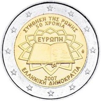 Greek euro coins - Image: €2 commemorative coin Greece 2007 TOR