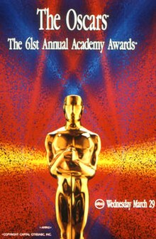 Oficiala afiŝo antaŭenigante la 61-an Akademian Premion en 1989.