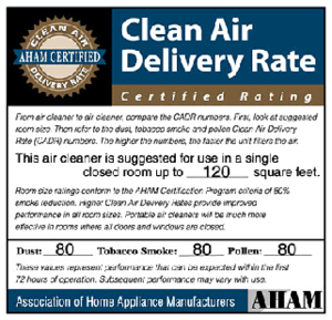 The AHAM-certified seal lists a rating for tob...