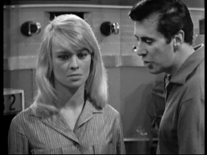 "A for Andromeda - Julie Christie as Andromeda and Peter Halliday as Fleming in a scene from ""The Face of the Tiger"", episode six of A for Andromeda (1961)."
