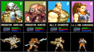 Alien vs. Predator (arcade game) - Character select screen