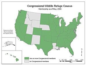 Congressional Wildlife Refuge Caucus - CWRC Membership Map 2008