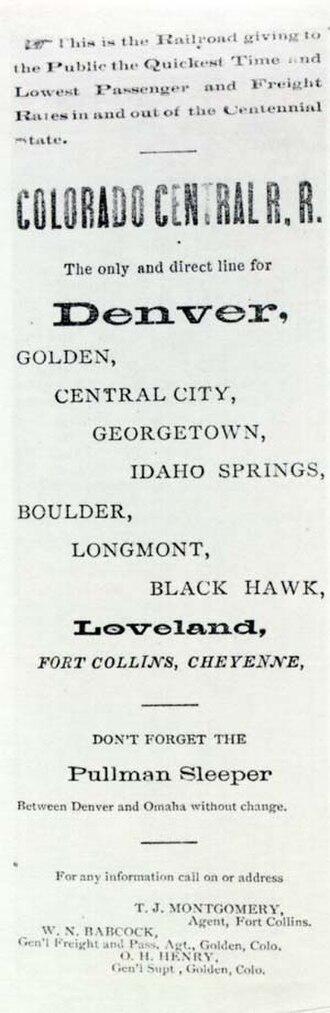 Colorado Central Railroad - Historic advertisement