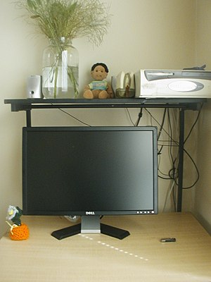 Computer desk - The top of a typical home computer desk