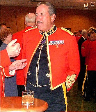 Mess dress uniform - Canadian officer wearing a cutaway or cavalry-style mess jacket with vest