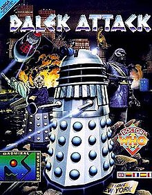 "An illustrated cover shows a silver Dalek firing its energy weapon, which appears as a blue-grey beam extending from the shorter of the two central protruding rods. The words ""DALEK ATTACK"" are in jagged silver letters across the upper part of the image. The background of the image shows the skyscrapers of an urban skyline; surrounding the Dalek (clockwise, from upper right) are: a tyrannosaurus (standing on a building's roof); a hulking simian humanoid figure holding a gun; a blue police box; the multicoloured diamond Doctor Who logo; a superimposed banner with the flags of the United Kingdom, Germany, France, Spain and Italy; a crumpled sign reading ""I LOVE NEW YORK""; a logo reading ""ADMIRAL SOFTWARE""; a figure with a Dalek base and a wizened, humanoid torso and head; the Statue of Liberty, broken and fallen at an angle; and a red Dalek flying on a disc and shooting its energy weapon."