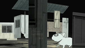 Dennō Coil - Densuke explores an abandoned space.