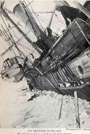 Voyage of the James Caird - Endurance, listing heavily, immediately before being crushed by the ice, October 1915