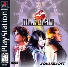 The box cover of the PlayStation version of the game, showing three figures (from left to right a man, a woman, and a man) looking away from the viewer at different angles. The game's logo floats above them, while the background consists of a faded image of a woman wearing an elaborate costume.