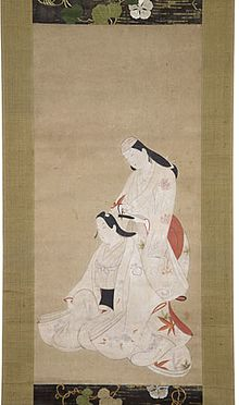 "Handpainted scroll attributed to Hishikawa Morofusa, titled ""Two Actors Combing Hair"", circa 1700; showing an onnagata (female-role actor) combing the hair of a wakashū-gata (actor specializing in adolescent male roles)."