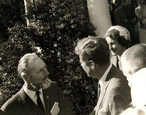 P. A. Ó Síocháin - P. A. Ó Siocháin SC presenting his book on the  Aran Islands to President John F. Kennedy at an   Áras an Uachtaráin reception for Irish Exporter's during  the President's official visit to Ireland in July 1962.
