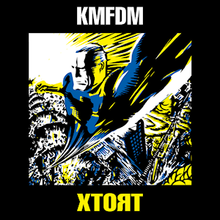 On a dark background, the word KMFDM in white capital letters at the top, and XTORT in capital yellow letters at the bottom. In the center is an image of a man flying directly up and towards the viewer, with stylized explosions and a sunburst in the background. It is done in a woodcut style, with angular, blocky textures, and uses a simple pattern of blue, yellow, white and black.