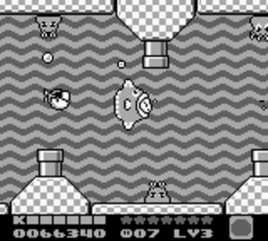 Kirby's Dream Land 2 - Kirby swimming with Kine
