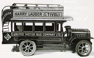Pre-WW1 toy bus with Lauder advert Lauder toy.jpg