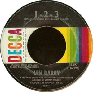 1-2-3 (Len Barry song) - Image: Len Barry 1 2 3