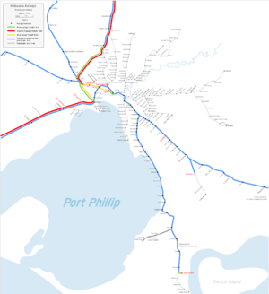 Freight railways in Melbourne - Freight line map