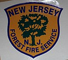"logo of New Jersey Forest Fire Service, featuring a blue shield in which is a green silhouette of a tree on a goldenrod yellow background with the works ""New Jersey N.J. Forest Fire Service"""