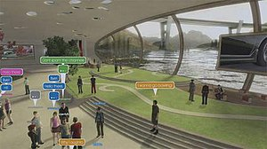 "PlayStation Home - The initial ""Central Plaza"" was indoors and separated from other spaces."