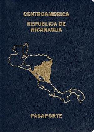 Nicaraguan passport - The front cover of a contemporary Nicaraguan passport.