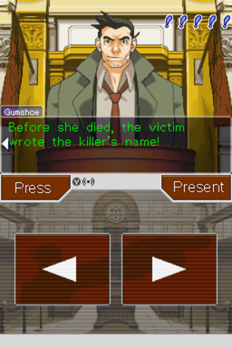 Phoenix Wright: Ace Attorney - A cross-examination in the game, showing the witness on the top screen. The player can move between statements, press the witness for details, or present evidence that contradicts the testimony.