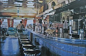 Photorealism - Ralph's Diner (1981–1982), oil on canvas.  Example of photorealist Ralph Goings' work