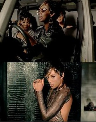 Slow Dance (song) - Hilson alongside Monica in a Jeep riding to a party, and her featured in front of a leather wall.