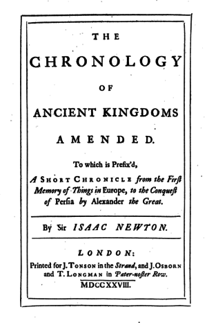 The Chronology of Ancient Kingdoms Amended - Title page, first edition