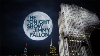 The Tonight Show Starring Jimmy Fallon - Show title, used since summer 2015 when the NBC peacock replaced the GE sign on the Comcast Building