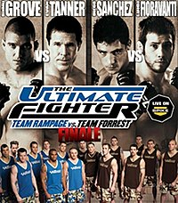 A poster or logo for The Ultimate Fighter: Team Rampage vs. Team Forrest Finale.