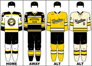 Michigan Tech Huskies men's ice hockey - Image: WCHA Uniform MTU