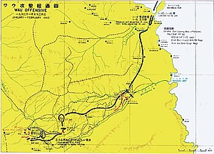 map of Wau area, showing route taken by the Japanese from the coast to Wau