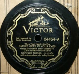 "Smoke Gets in Your Eyes - Image: ""Smoke Gets in Your Eyes"" Gertrude Niendsen and Ray Sinatra (original 1933 recording)"