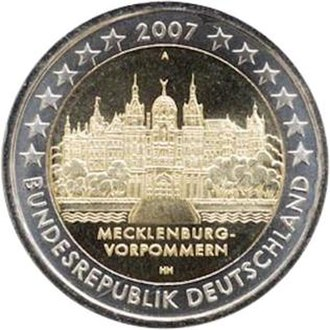 German euro coins - Image: €2 commemorative coin Germany 2007