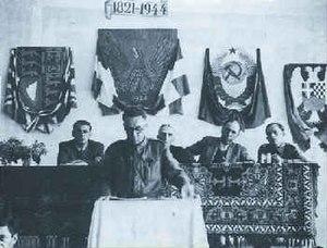 Evripidis Bakirtzis - Evripidis Bakirtzis, Chairman of the PEEA, addresses the National Council in Evrytania, May 1944.