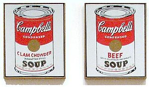 Campbell's Soup Cans - Black font coloring is visible in Clam Chowder and Beef canvases from Campbell's Soup Cans, 1962.