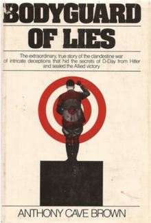 Photograph of a cream book cover with the title Bodyguard of Lies, and an image of Adolf Hitler with two concentric red circles in the background