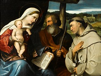 Moretto da Brescia - The Holy Family with Saint Anthony of Padua, oil on panel.
