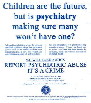 "Citizens Commission on Human Rights - CCHR promotional leaflet, inviting members of the public to ""report psychiatric abuse"""
