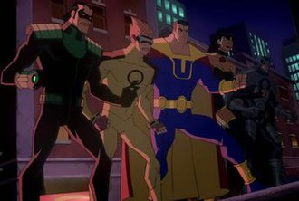 Crime Syndicate of America - The Crime Syndicate as seen in Justice League: Crisis on Two Earths. From left to right: Power Ring, Johnny Quick, Ultraman, Superwoman, and Owlman.