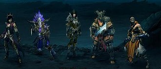 Diablo III - The five original character classes of Diablo III. From left to right: Wizard, Witch Doctor, Demon Hunter, Barbarian, and Monk.