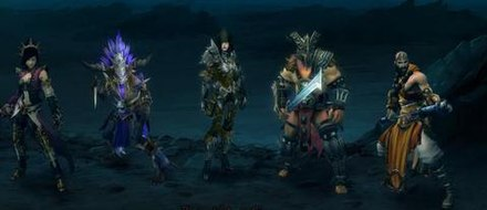 The five original character classes of Diablo III. From left to right: Wizard, Witch Doctor, Demon Hunter, Barbarian, and Monk. Diablo III Character Classes.JPG