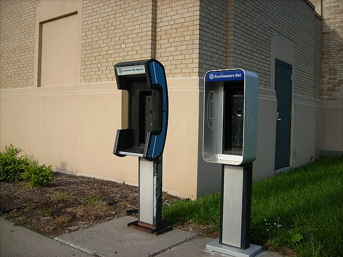 Empty payphone booths