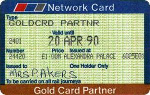 Concessionary fares on the British railway network - A Gold Card Partner's Card.