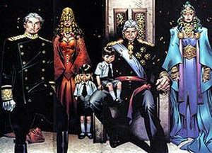 Magneto (comics) - The House of Magnus, from left to right: Quicksilver, Scarlet Witch, her two children William and Thomas, Magneto, and Polaris.