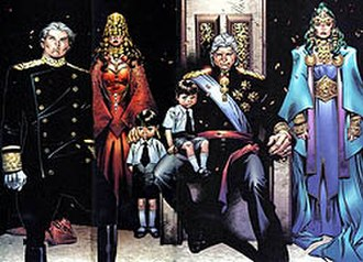 House of M - House of Magnus, from left to right: Quicksilver, Scarlet Witch, her two children William and Thomas, Magneto, and Polaris.