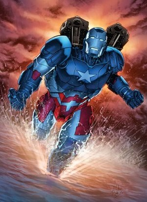 War Machine - James Rhodes as Iron Patriot. Art by Mike Perkins.