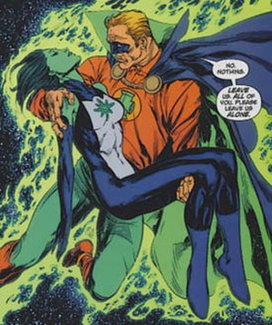 Alan Scott - The death of Jade; art by Ivan Reis