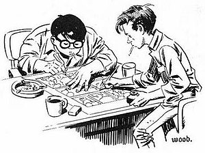Joe Orlando - Wally Wood's drawing of Joe Orlando (left) and Wood collaborating on a comics page in the early 1950s.